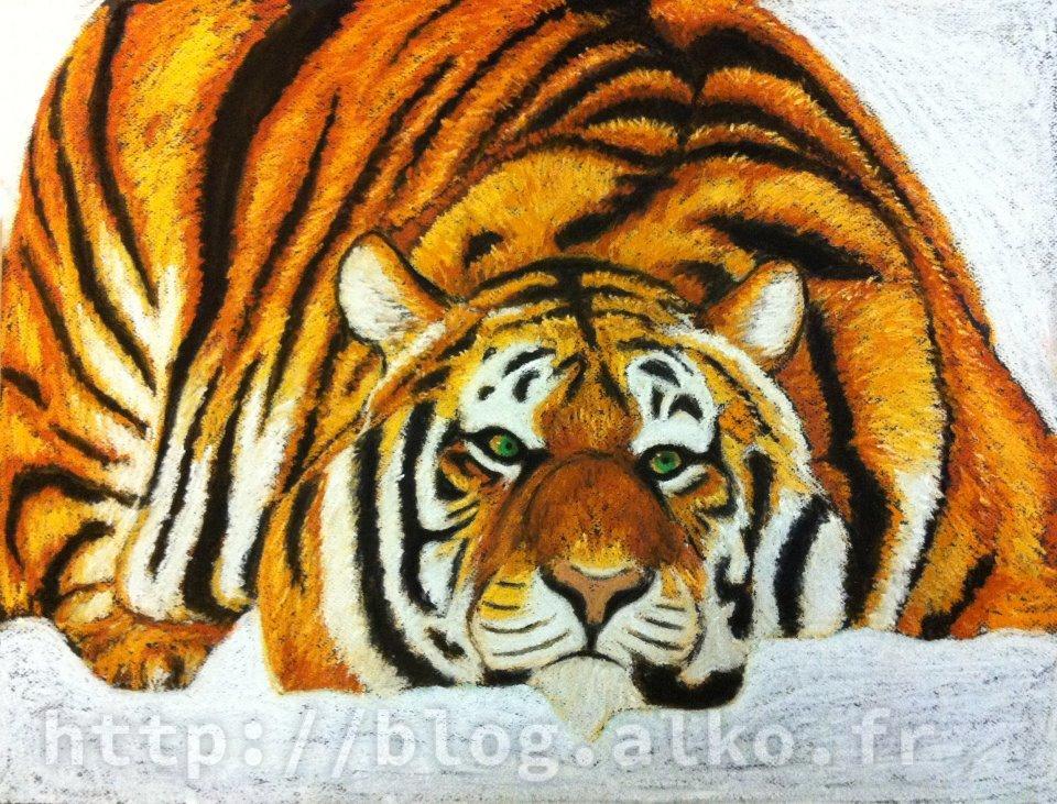 Pastels secs. Tigre dans la neige.