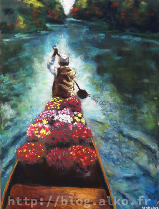 Le livreur de fleur. Pastel sec d'après une photo d'une Steve McCurry