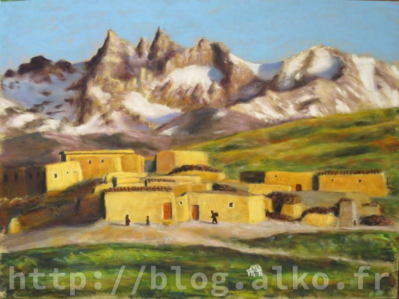 Paysage d'Afghanistan Pastel sec d'après une photographie de Steve McCurry