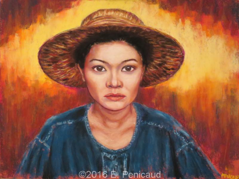 Portrait de Thaïlande. Pastel sec d'après une photo de Steve McCurry.