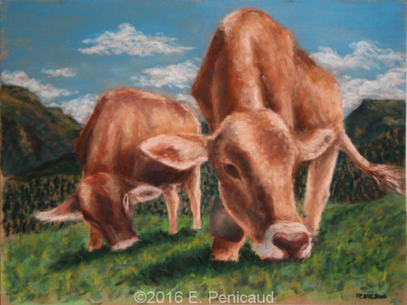 Vaches. Pastel sec.