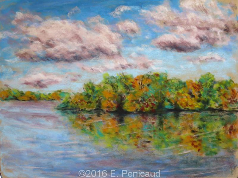 Paysage d'automne. Pastel sec.