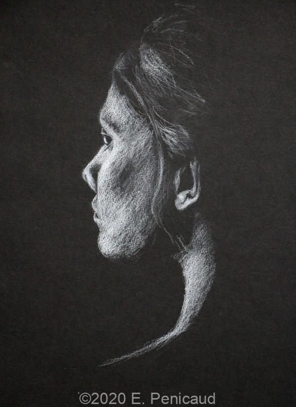 Portrait à la craie sur papier noir par Etienne Penicaud