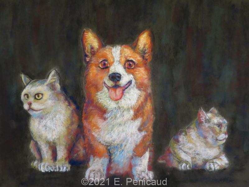 2021-09-22_etienne-penicaud_pastel-sec_corgi-and-cats