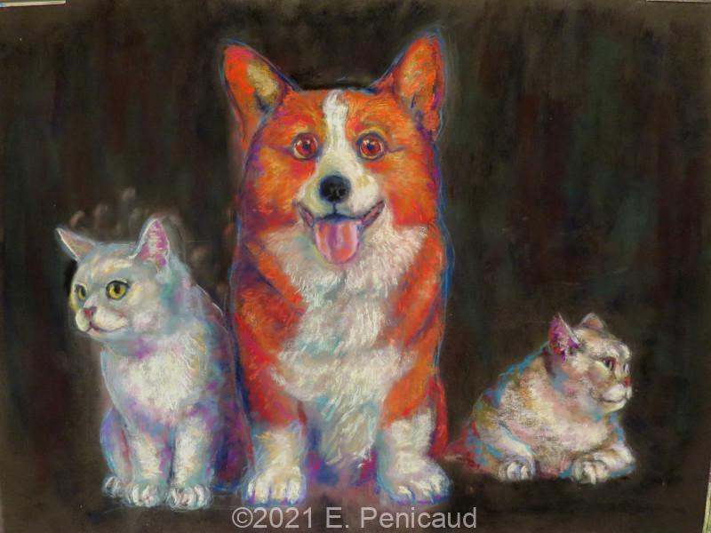 2021-10-06_etienne-penicaud_pastel-sec_corgi-and-cats